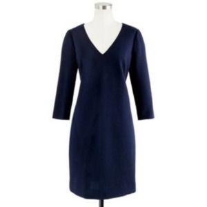 J. Crew Wool Navy V-neck Long Sleeve Sheath Dress